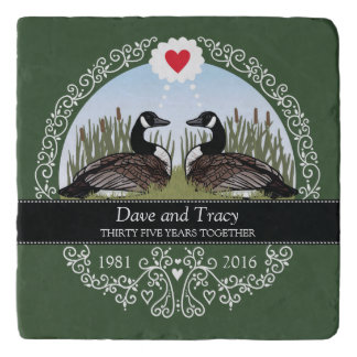 Personalized 35th Wedding Anniversary, Geese Trivet