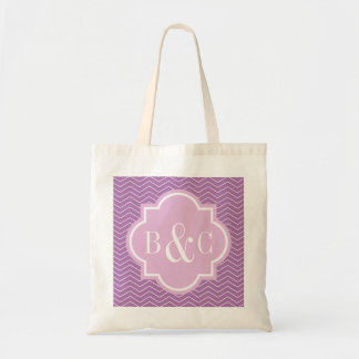 Personalized 3 letter monogram wedding tote bag