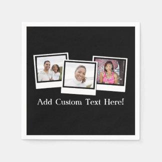 Personalized 3-Photo Snapshot Frames Custom Color Napkin