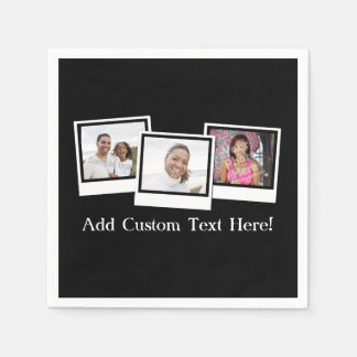 Personalized 3-Photo Snapshot Frames Custom Color Paper Napkin