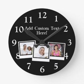 Personalized 3-Photo Snapshot Frames Custom Color Round Clock
