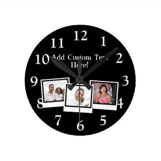 Personalized 3-Photo Snapshot Frames Custom Color Wallclocks