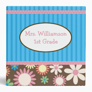 Personalized 3-Ring Binder in Blue and Pink