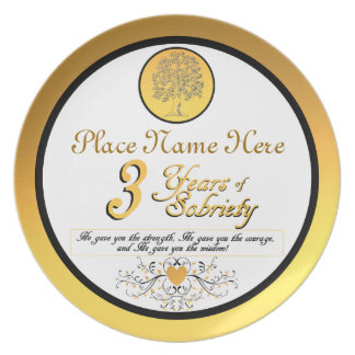 Personalized 3 Years of Sobriety Anniversary Plate