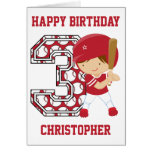 Personalized 3rd Birthday Baseball Batter Red
