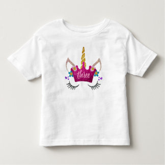 Personalized 3rd Birthday Crowned Unicorn Shirt