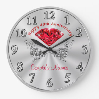 Personalized 40th Anniversary Gifts for Couples Wallclock