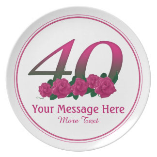 Personalized 40th customized text 40 flowers plate