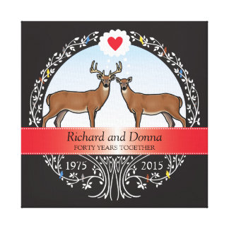 Personalized 40th Wedding Anniversary, Buck & Doe Canvas Print