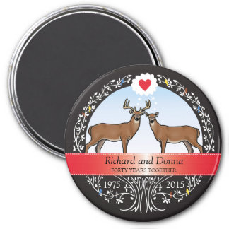 Personalized 40th Wedding Anniversary, Buck & Doe Magnet