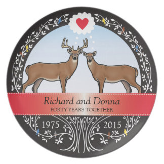 Personalized 40th Wedding Anniversary, Buck & Doe Plate