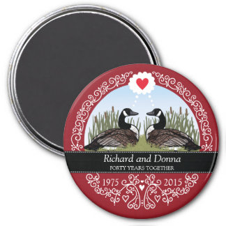 Personalized 40th Wedding Anniversary, Geese 3 Inch Round Magnet