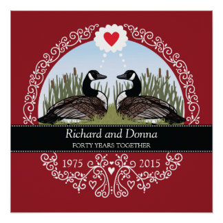 Personalized 40th Wedding Anniversary, Geese Perfect Poster