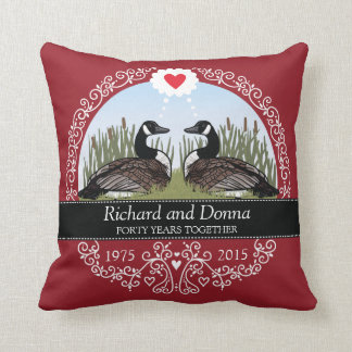 Personalized 40th Wedding Anniversary, Geese Throw Pillow