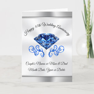 Personalized 45th Anniversary Cards, Sapphire Card