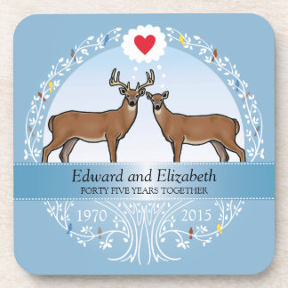 Personalized 45th Wedding Anniversary, Buck & Doe Drink Coaster