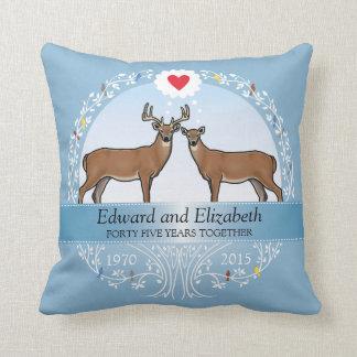 Personalized 45th Wedding Anniversary, Buck & Doe Throw Pillow