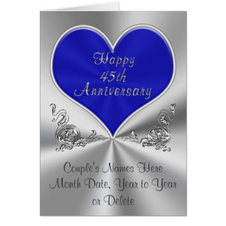 45th Wedding Anniversary Gift Ideas For Husband : Personalized 45th Wedding Anniversary Card