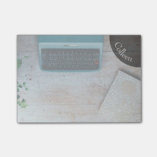 "Personalized 4x3"" Post-It Notes Typewriter Graphic"