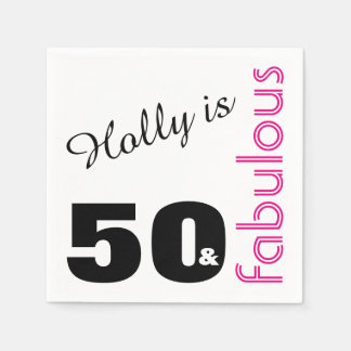 Personalized 50 and Fabulous Themed 50th Birthday Paper Napkin