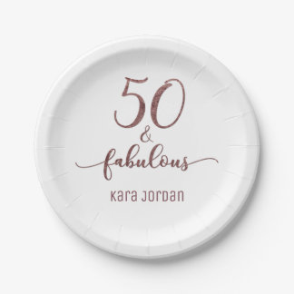 Personalized 50 & Fabulous Rose Gold Glitter Paper Plate