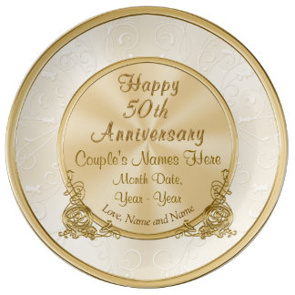Personalized 50th Anniversary Gift, 3 Text Boxes Plate