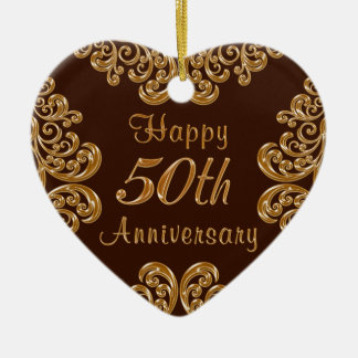 Personalized 50th Anniversary Gifts for Couples Ceramic Ornament