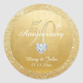 Personalized 50th Anniversary Wedding Gold Glitter Round Sticker