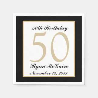 Personalized 50th Birthday Party Napkins Paper Napkins