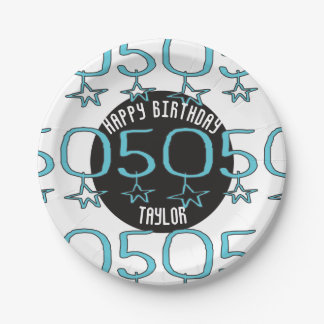 Personalized 50th Birthday Stars Party Supplies 7 Inch Paper Plate