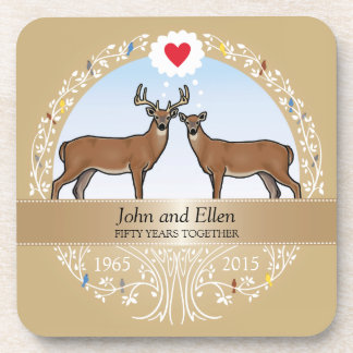 Personalized 50th Wedding Anniversary, Buck & Doe Drink Coaster
