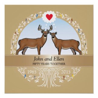 Personalized 50th Wedding Anniversary, Buck & Doe Perfect Poster