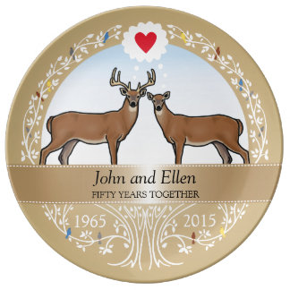 Personalized 50th Wedding Anniversary, Buck & Doe Plate