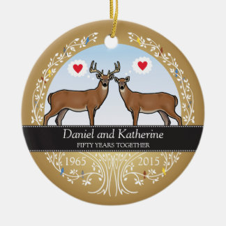Personalized 50th Wedding Anniversary, Buck & Doe Round Ceramic Ornament