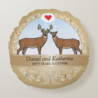 Personalized 50th Wedding Anniversary, Buck & Doe Round Pillow