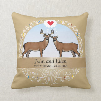 Personalized 50th Wedding Anniversary, Buck & Doe Throw Pillow