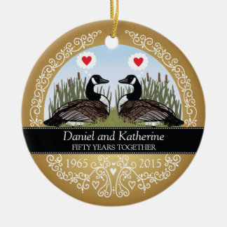 Personalized 50th Wedding Anniversary, Geese Double-Sided Ceramic Round Christmas Ornament