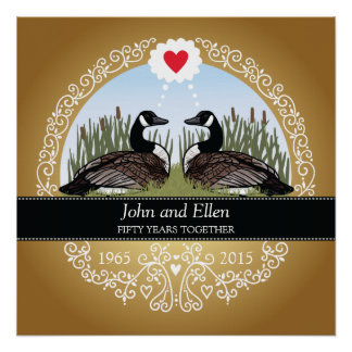 Personalized 50th Wedding Anniversary, Geese Perfect Poster