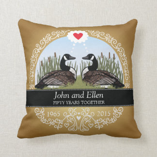 Personalized 50th Wedding Anniversary, Geese Throw Pillow