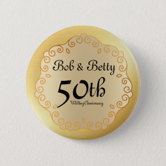 Personalized 50th Wedding Anniversary Gold 2 Inch Round Button