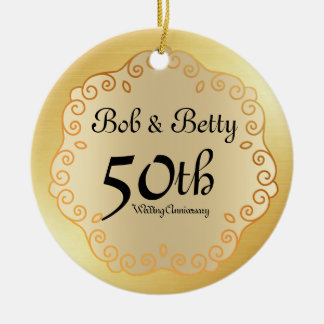 Personalized 50th Wedding Anniversary Gold Ceramic Ornament
