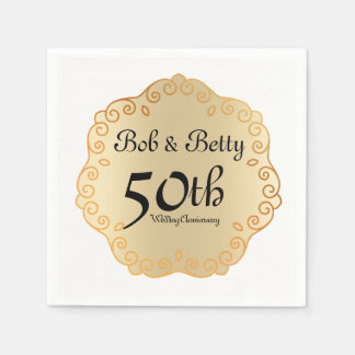 Personalized 50th Wedding Anniversary Gold Paper Napkin