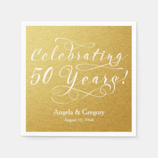 Personalized 50th Wedding Anniversary Gold White Paper Napkins