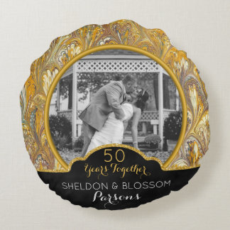 Personalized 50th Wedding Anniversary Photo Golden Round Pillow