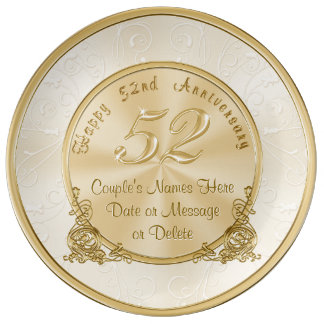 Personalized 52nd Anniversary Gift Porcelain Plate
