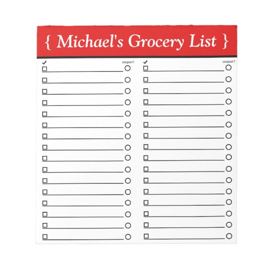 "Personalized 5.5"" x 6"" Red Grocery List Notepad"