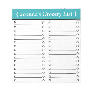 "Personalized 5.5"" x 6"" Teal Grocery List Notepad"