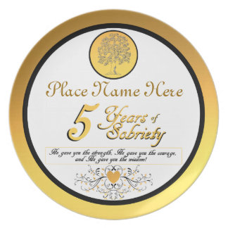 Personalized 5 Years of Sobriety Anniversary Plate