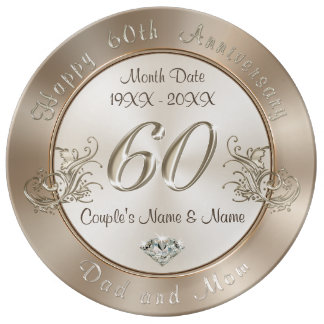 Personalized 60th Anniversary Gifts for Parents Plate
