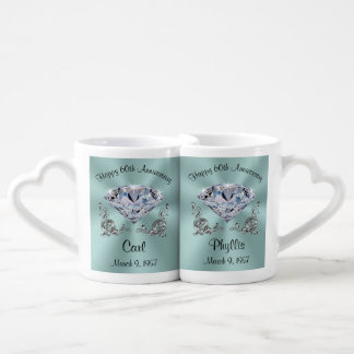 Personalized 60th Anniversary Mugs Set for Two
